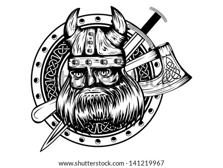 Vector illustration old viking in helmet with horns and board, axe, sword - stock vector