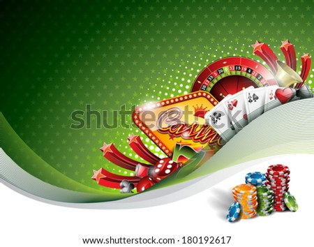 Vector illustration on a casino theme with gambling elements on green background. EPS 10 design  - stock vector