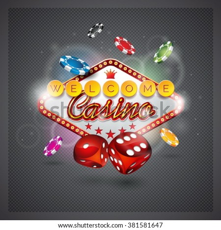 Vector illustration on a casino theme with lighting display and dices on dark background. Eps 10 design. - stock vector