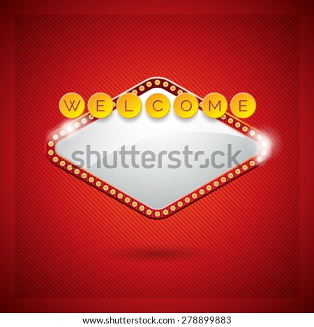 Vector illustration on a casino theme with lighting display and welcome text on red background. Eps 10 design. - stock vector