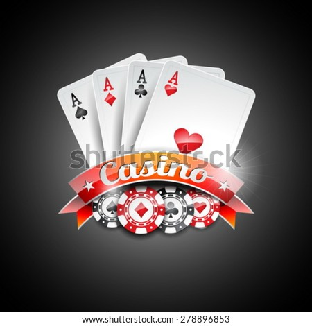 Vector illustration on a casino theme with poker symbols and poker cards on dark background. EPS 10 design  - stock vector