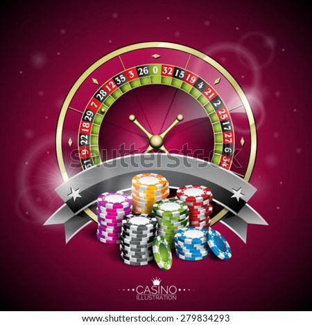Vector illustration on a casino theme with roulette wheel and playing chips on purple background. Eps 10 design. - stock vector