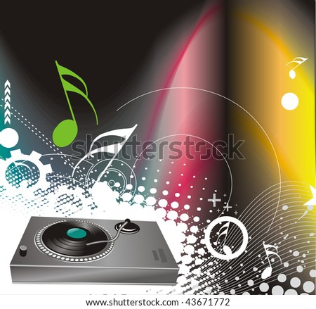 vector illustration on a musical theme with turntable mixing beats - stock vector