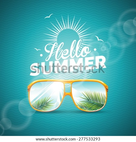 Vector illustration on a summer holiday theme with sunglasses on blue background. Eps 10 design. - stock vector