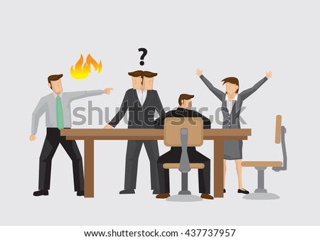 Vector illustration on different behaviors of business people during heated conflict in meeting. Concept for managing conflict at work. - stock vector