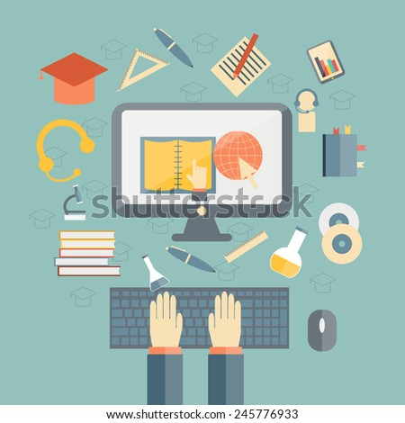 Vector illustration on e-learning theme for your design - stock vector