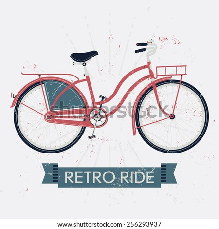 Vector illustration on retro ride with vintage bicycle with dress guard, front and rear racks. Dust and scratches texture on separate layers - stock vector