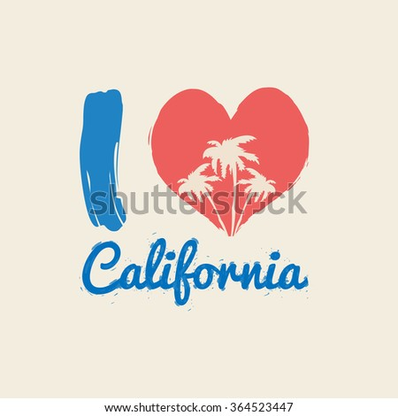 Vector illustration on the theme of California. I love California. The effect of ink splashes. Typography, t-shirt graphics, poster, banner, flyer, postcard - stock vector