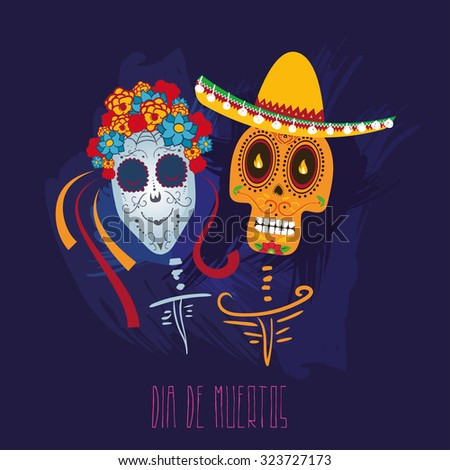 Vector illustration on the theme of the Mexican holiday Day of the Dead (Dia de Muertos)  - stock vector