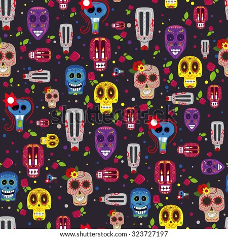 Vector illustration on the theme of the Mexican holiday Day of the Dead (Dia de Muertos) , Creative seamless pattern - stock vector