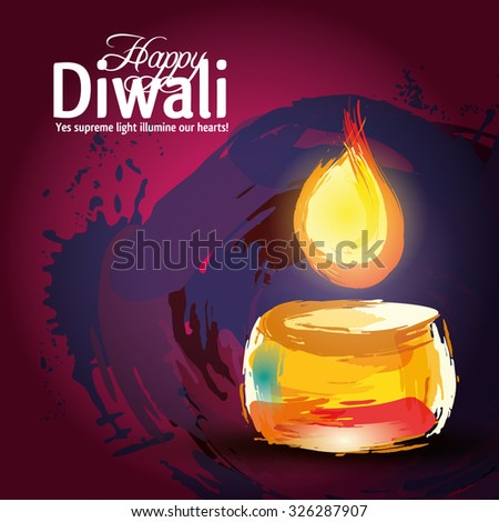 Vector illustration on the theme of the traditional celebration of happy diwali - stock vector