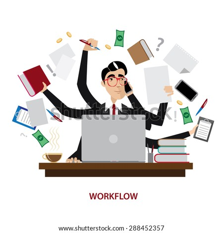 Vector illustration on white background featuring a successful and busy multitasking businessman - stock vector