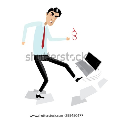 Vector illustration on white background featuring angry businessman breaking laptop - stock vector