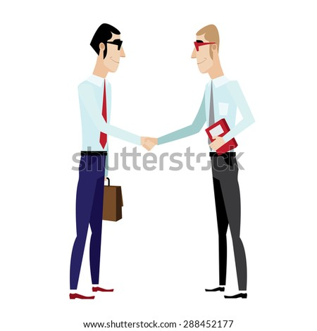 Vector illustration on white background featuring businessmen shaking hands - stock vector