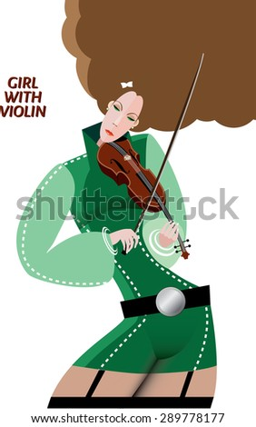 Vector illustration on white background featuring girl with violin - stock vector