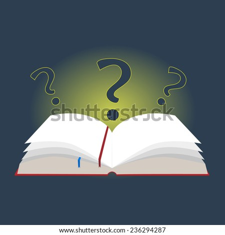 vector illustration open book with bookmarks and question marks in a flat design - stock vector
