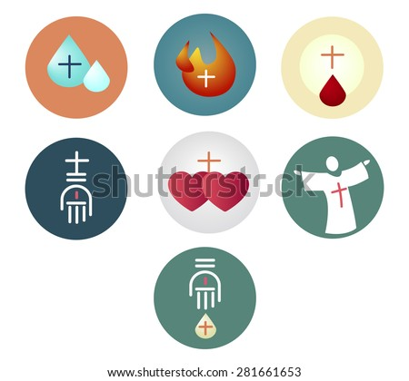Vector illustration or drawing of  the 7 Sacraments of the Christian Catholic Church - stock vector