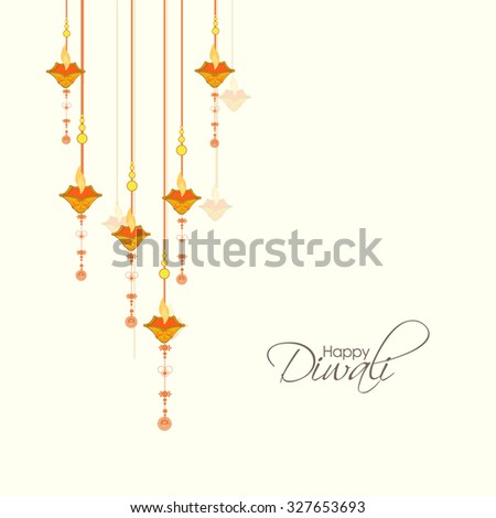 Vector illustration or greeting card for Diwali festival with Diwali elements. - stock vector