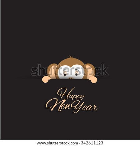 Vector illustration or greeting card for happy new year 2016, year of the monkey  - stock vector