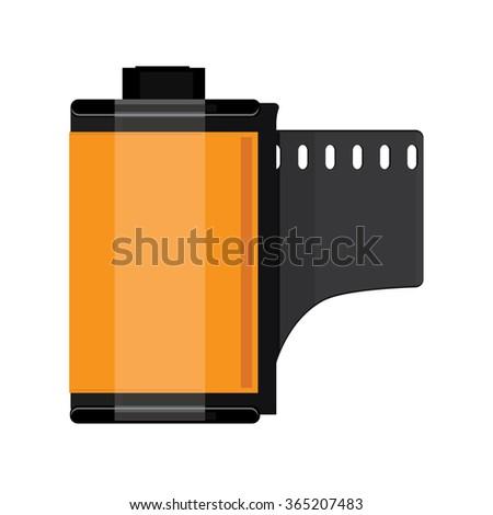 Vector illustration orange camera film roll. Photo film flat icon - stock vector