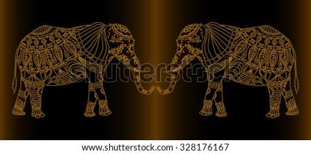 Vector illustration, ornamental elephants print, golden collection, card concept. - stock vector