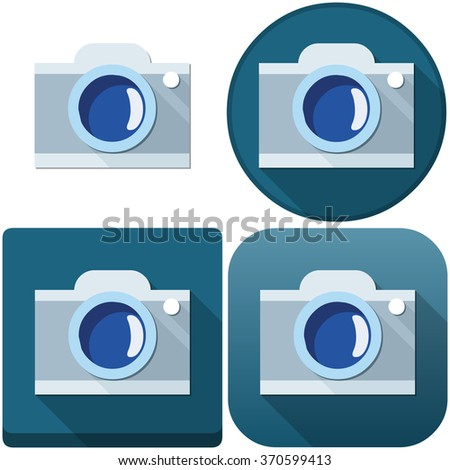 Vector illustration pack of a camera and camera icons. - stock vector