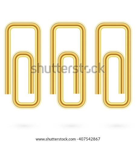 Vector illustration. Paper gold clips on paper. Realistic  - stock vector