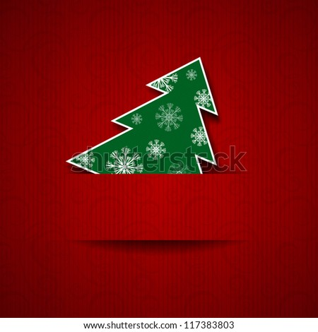 Vector illustration: Paper red background with Christmas tree - stock vector