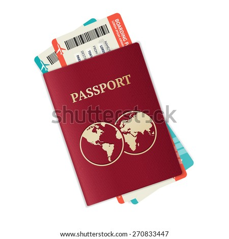 Vector illustration passport with tickets. Holiday and vocation concept.  - stock vector