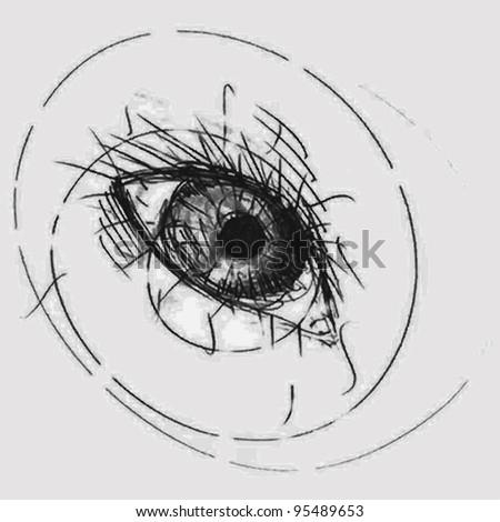 Vector illustration, pencil eye sketck, chaotic lines, card concept. - stock vector