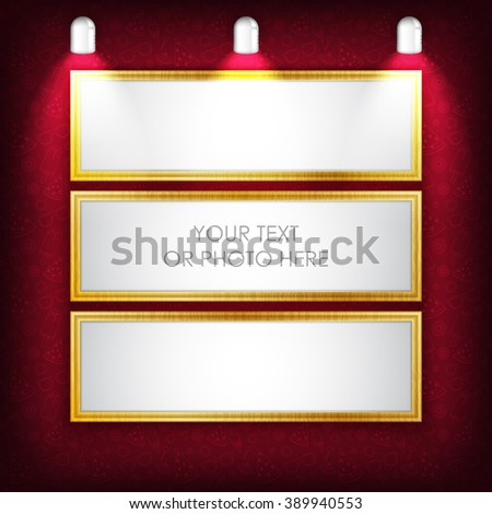 Vector illustration. Photo picture frame with red summer pattern and light lamp. Creative clean photo picture frame for photo, text, advertising, poster, leaflet, banner, web and flyer. Red color. - stock vector