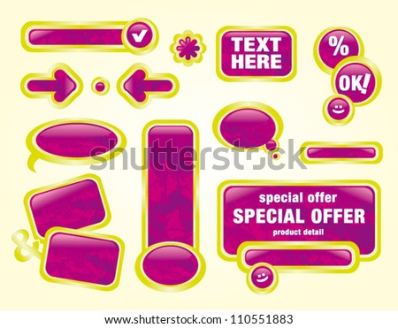 Vector illustration pink labels set with structure - stock vector