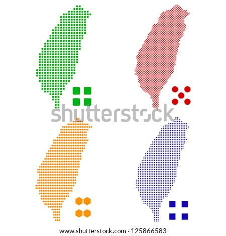 Vector illustration pixel map of Taiwan. - stock vector