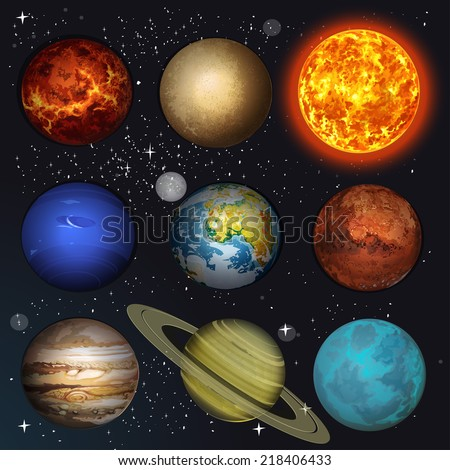 Vector illustration planets Solar system and sun on stars background - stock vector