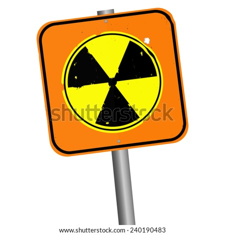 Vector illustration.  Pole with orange sign of radiation. Isolated on white background - stock vector