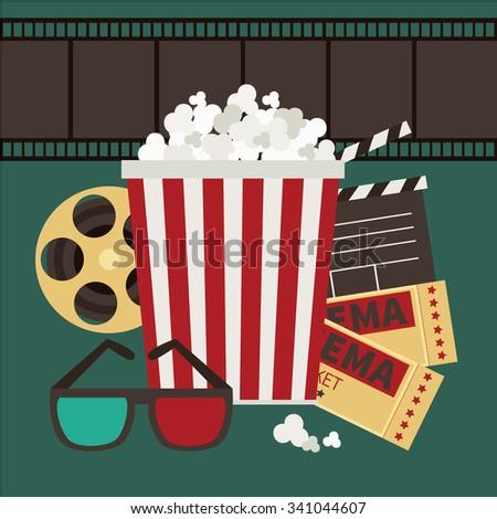 Vector illustration.Popcorn, film tape and 3d glasses - stock vector
