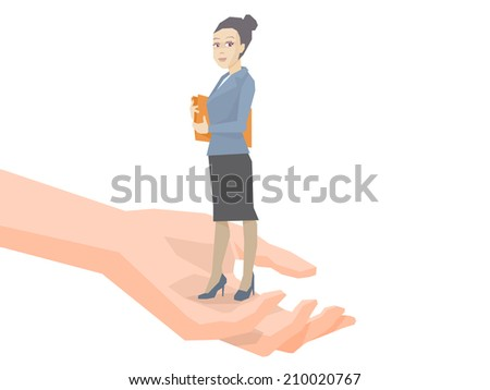 Vector illustration portrait of a woman manager keeps a folder with documents in hands standing on palm of the hand on a white background  - stock vector