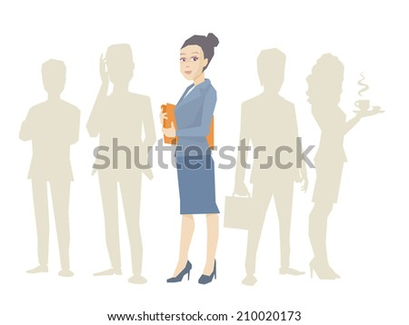 Vector illustration portrait of a woman manager keeps a folder with documents in hands stands in the center on a background of silhouette business team of businesspeople - stock vector