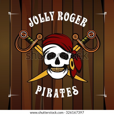 vector illustration poster with a human skull on a background of the wheel Jolly Roger Marine emblem on the wooden background - stock vector