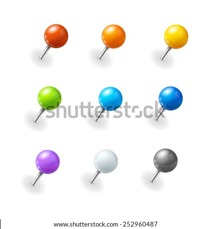 Vector illustration. Pushpins set on white background.  - stock vector
