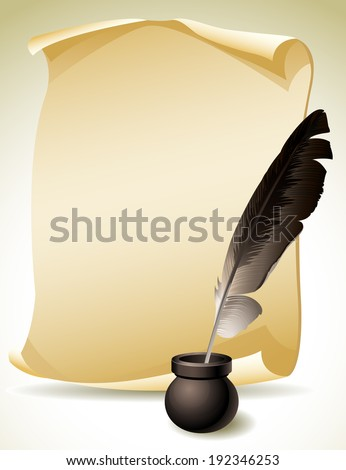 Vector illustration - Quill Pen with inkwell and paper scroll - stock vector