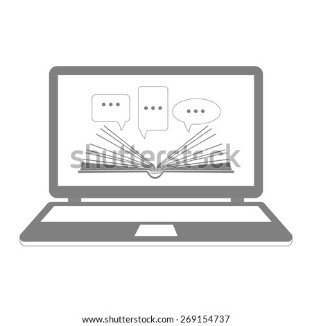 Vector illustration. Reading e-books. On-line learning. Open book paper with speech clouds on the laptop. Flat design. - stock vector