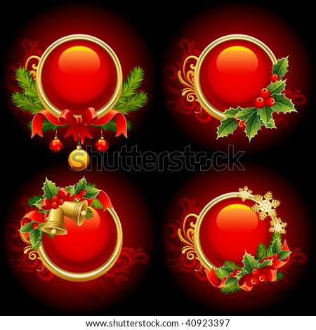 Vector illustration - red and gold christmas buttons - stock vector
