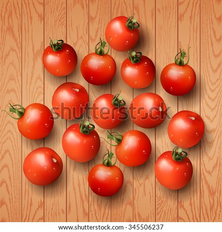 Vector illustration red cherry fresh tomato - stock vector