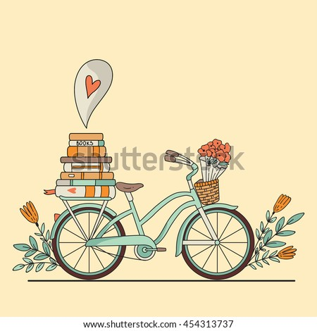 Vector illustration. Retro bicycle with books and space for your text - stock vector