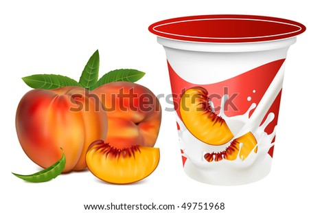 Vector illustration. Ripe  peaches falling into the milky splash. Background for design of packing yoghurt with photo-realistic vector of peaches. - stock vector