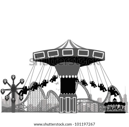 Vector illustration.Roller Coaster Silhouette .Carousel - stock vector