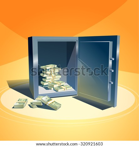 Vector illustration. Safe with a stack of dollars - stock vector
