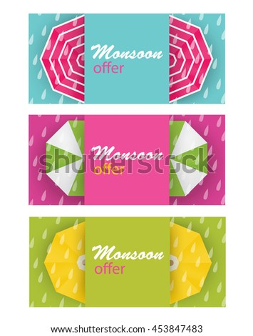 Vector illustration, sale, special offer banners  for Monsoon, autumn, fall season with colorful umbrellas and rain drops with text copy space background - stock vector