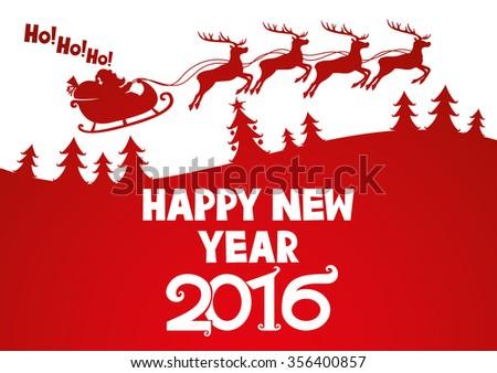 Vector illustration. Santa wishes Happy New Year. - stock vector